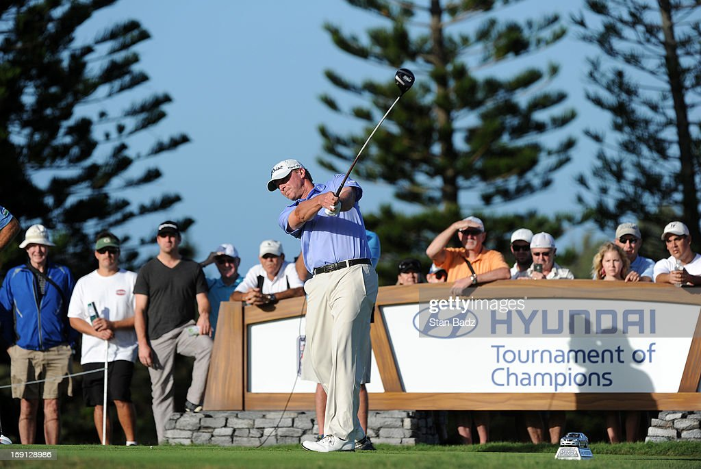 Steve Stricker hits a drive on the third hole during the final round of the Hyundai Tournament of Champions at Plantation Course at Kapalua on January 8, 2013 in Kapalua, Maui, Hawaii.
