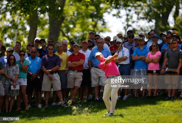Steve Stricker hits his second shot on the second hole during the second round of the Memorial Tournament presented by Nationwide Insurance at...