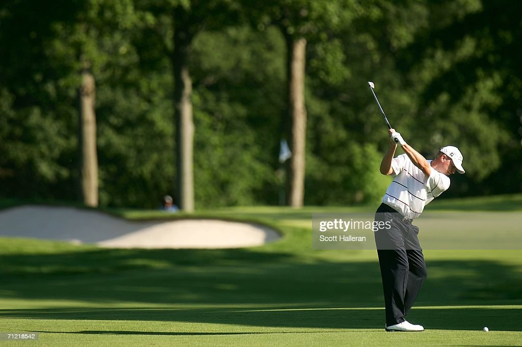 Steve Stricker hits his shot on the 14th hole during the second round of the 2006 US Open Championship at Winged Foot Golf Club on June 16 2006 in...