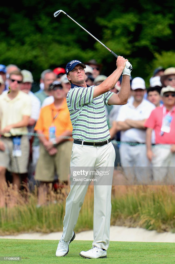Steve Stricker of the United States hits a shot on the first hole during the final round of the 113th U.S. Open at Merion Golf Club on June 16, 2013 in Ardmore, Pennsylvania.