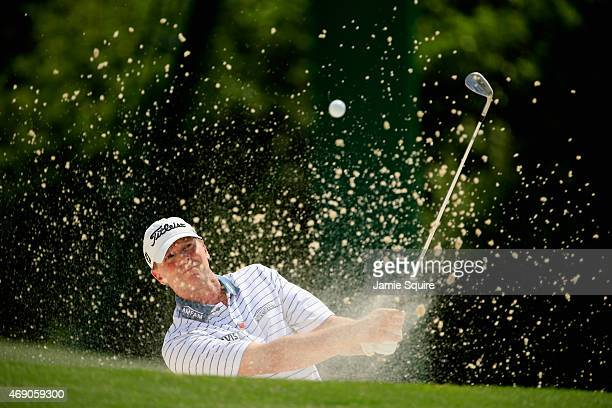 Steve Stricker of the United States plays a bunker shot on the 18th hole during the first round of the 2015 Masters Tournament at Augusta National...