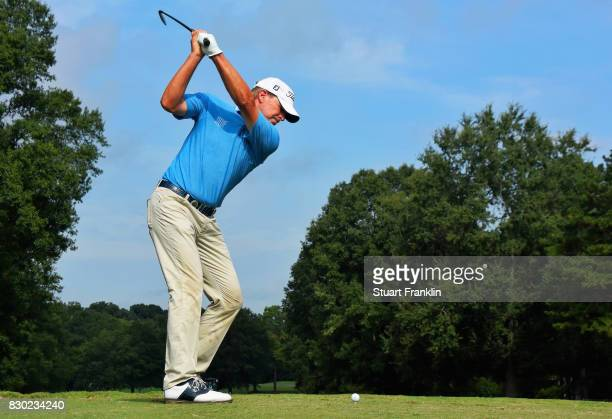 Steve Stricker of the United States plays a tee shot on the sixth hole during the second round of the 2017 PGA Championship at Quail Hollow Club on...