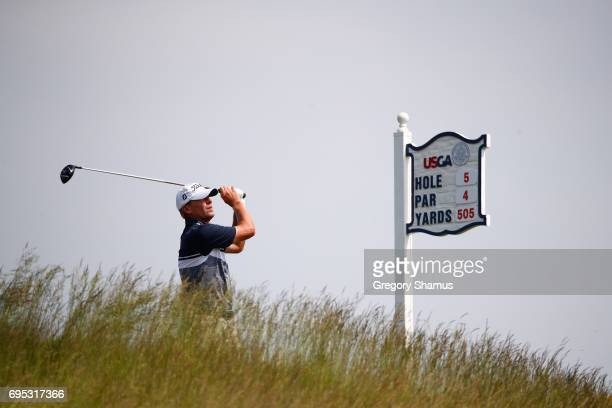 Steve Stricker of the United States plays his shot from the fifth tee during a practice round prior to the 2017 US Open at Erin Hills on June 12 2017...