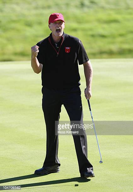 Steve Stricker of the USA celebrates a putt on the 15th green in the singles matches during the 2010 Ryder Cup at the Celtic Manor Resort on October...