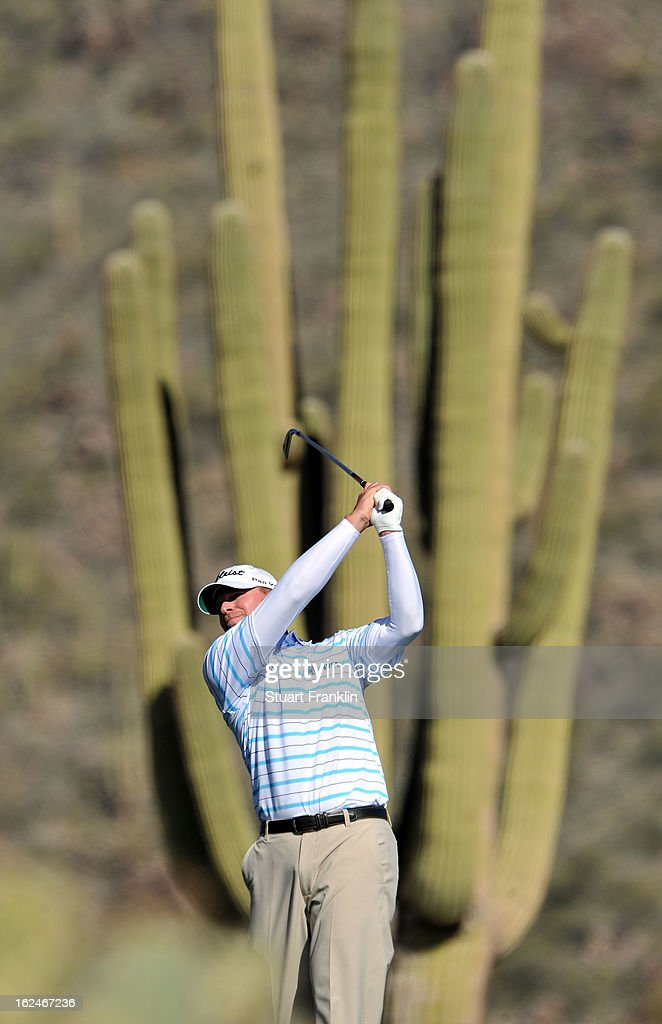 Steve Stricker of USA plays his approach shot on the 11th hole during the quarterfinal round of the World Golf Championships - Accenture Match Play at the Golf Club at Dove Mountain on February 23, 2013 in Marana, Arizona.