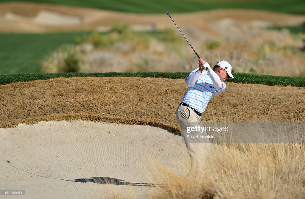 Steve Stricker of USA plays his bunker shot on the 13th hole during the quarterfinal round of the World Golf Championships - Accenture Match Play at the Golf Club at Dove Mountain on February 23, 2013 in Marana, Arizona.