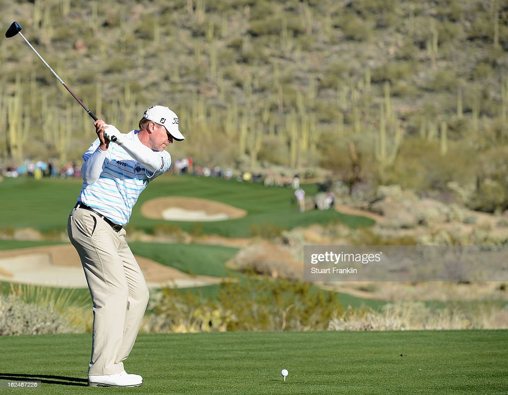 Steve Stricker of USA plays his tee shot on the 15th hole during the quarterfinal round of the World Golf Championships - Accenture Match Play at the Golf Club at Dove Mountain on February 23, 2013 in Marana, Arizona.