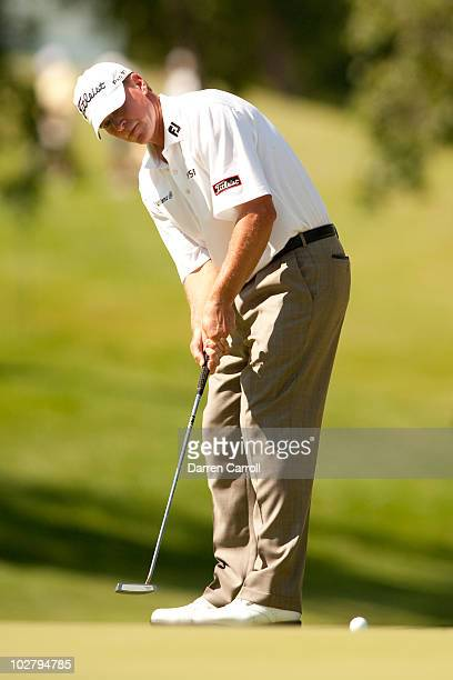Steve Stricker putts during the third round of the John Deere Classic at TPC Deere Run on July 10 2010 in Silvis Illinois
