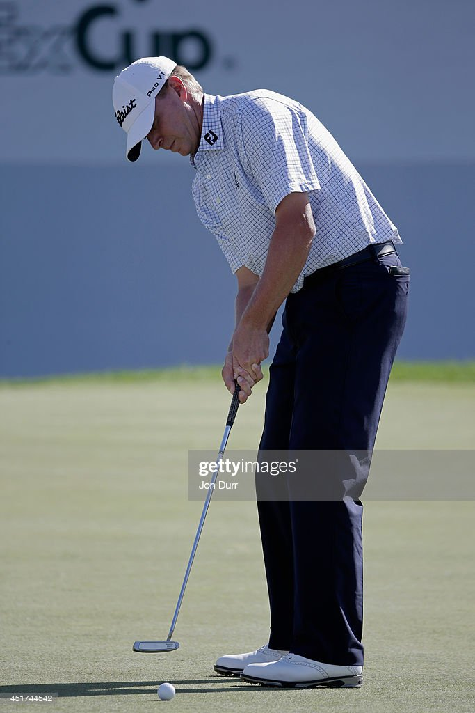 Steve Stricker putts on the 18th green during the third round of the Greenbrier Classic at the Old White TPC on July 5, 2014 in White Sulphur Springs, West Virginia.