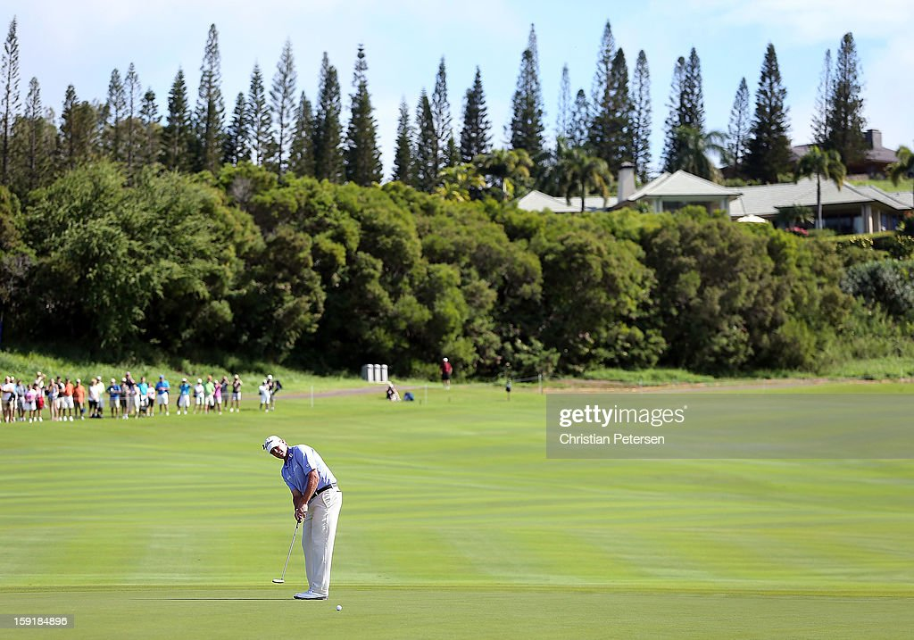 Steve Stricker putts on the 18th hole green during the final round of the Hyundai Tournament of Champions at the Plantation Course on January 8, 2013 in Kapalua, Hawaii.