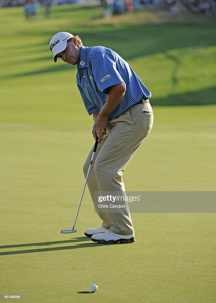 Steve Stricker reacts after missing his par putt on during the final round of The Barclays at Liberty National Golf Club on August 30 2009 in Jersey...