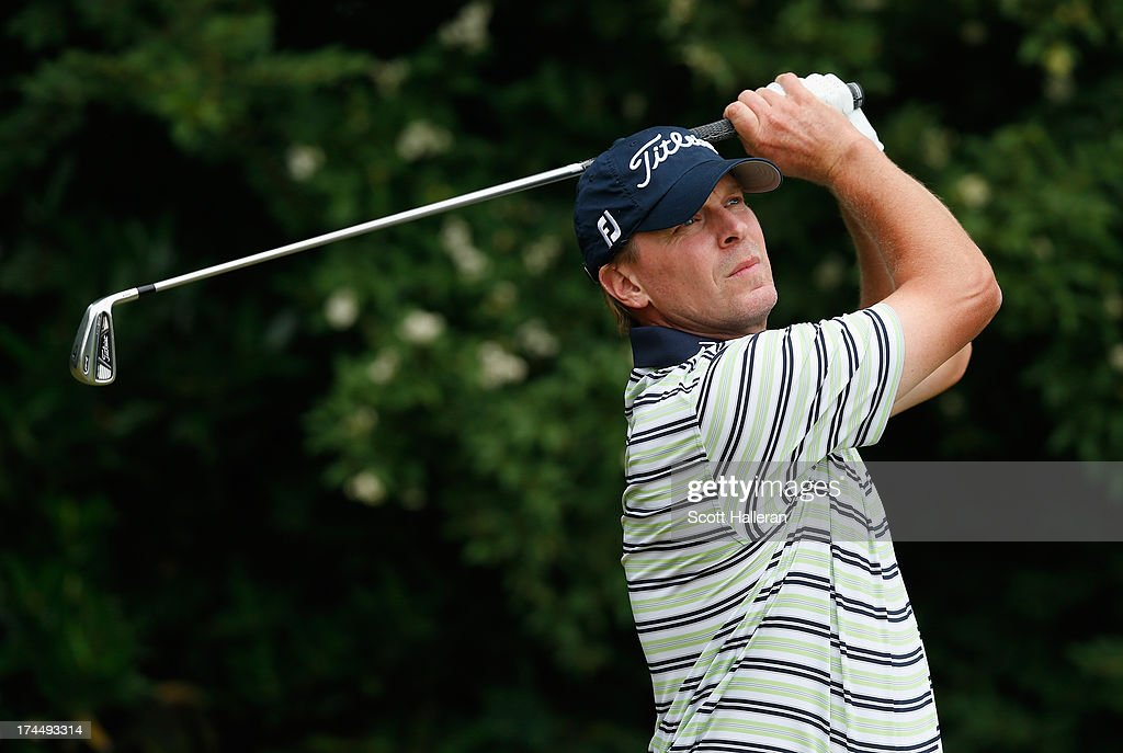 Steve Stricker watches a shot during the final round of the 113th U.S. Open at Merion Golf Club on June 16, 2013 in Ardmore, Pennsylvania.