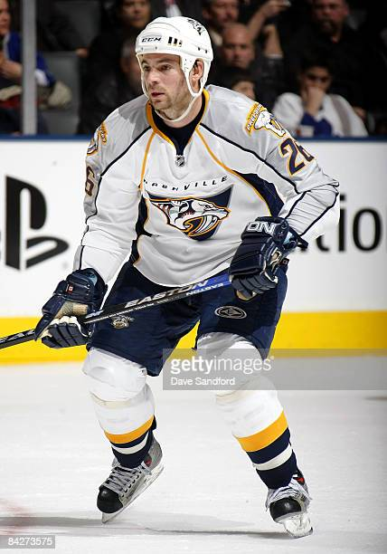 Steve Sullivan of the Nashville Predators skates against the Toronto Maple Leafs during their NHL game at the Air Canada Centre January 13 2009 in...