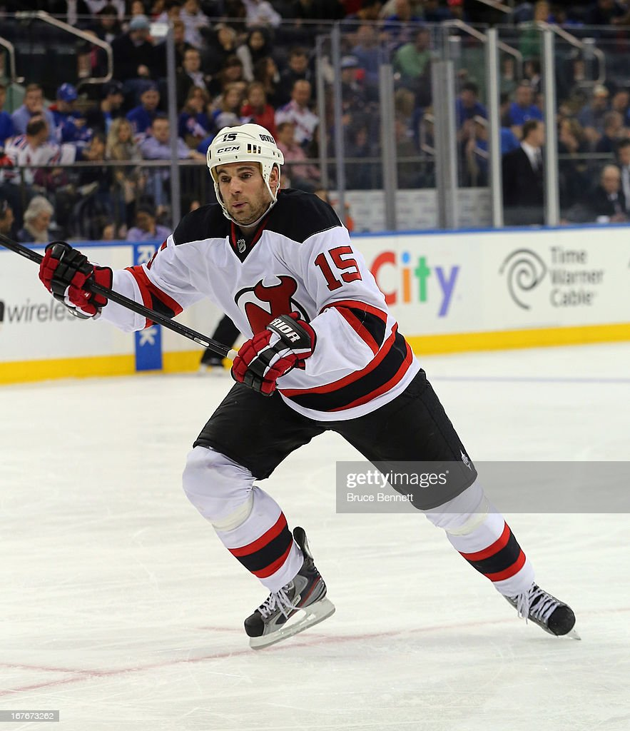 Steve Sullivan #15 of the New Jersey Devils skates against the New York Rangers at Madison Square Garden on April 27, 2013 in New York City.The Rangers shutout the Devils 4-0.
