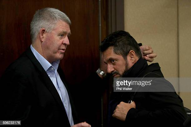 Steve Tew and Khoder Nasser speak following a press conference at the Heritage Hotel on June 1 2016 in Auckland New Zealand Sonny Bill Williams...