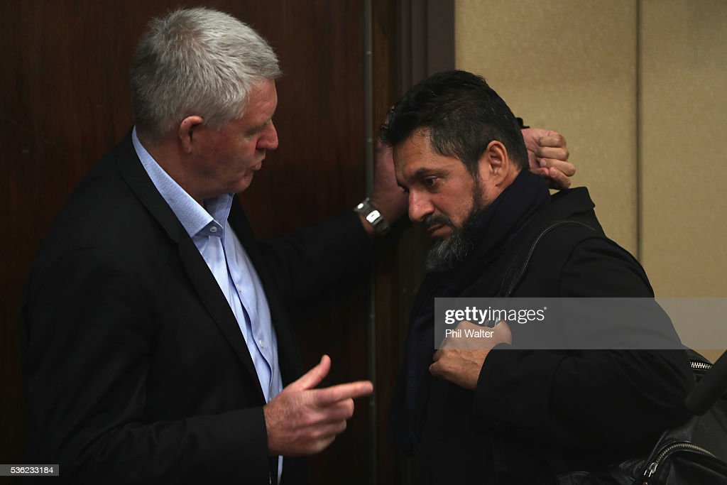 Steve Tew (L) and Khoder Nasser (R) speak following a press conference at the Heritage Hotel on June 1, 2016 in Auckland, New Zealand. Sonny Bill Williams announced today he has signed a three year contract with New Zealand Rugby.