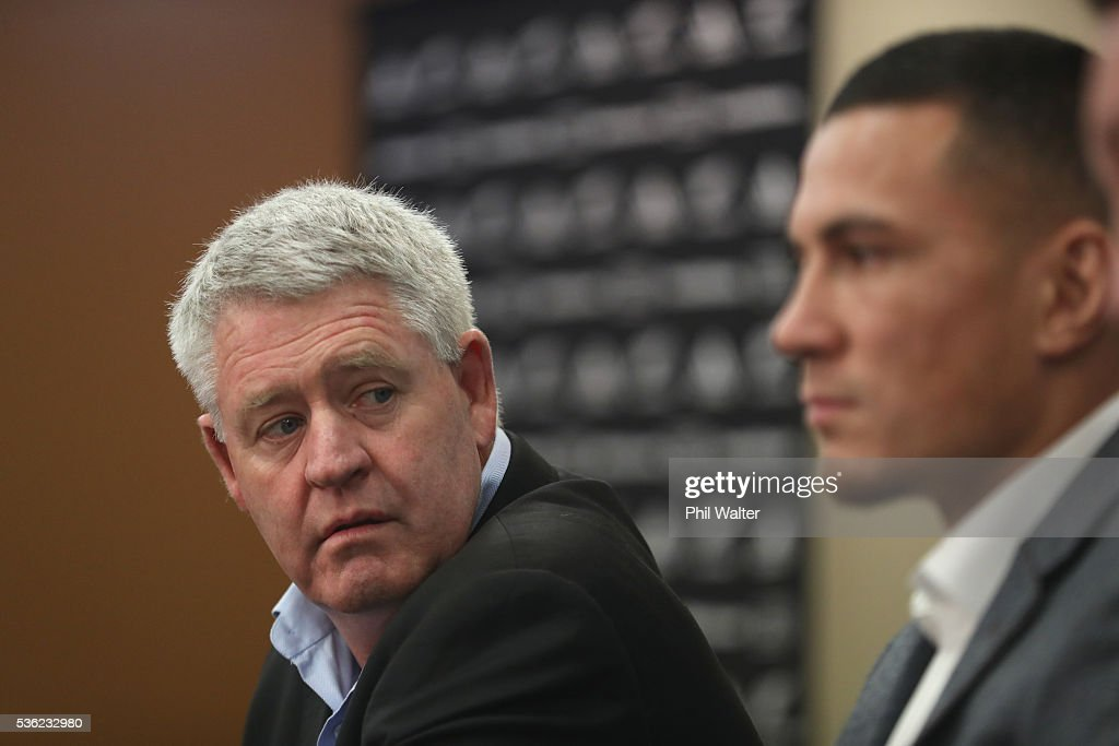 Steve Tew (L) looks on during a press conference with <a gi-track='captionPersonalityLinkClicked' href=/galleries/search?phrase=Sonny+Bill+Williams&family=editorial&specificpeople=204424 ng-click='$event.stopPropagation()'>Sonny Bill Williams</a> at the Heritage Hotel on June 1, 2016 in Auckland, New Zealand. <a gi-track='captionPersonalityLinkClicked' href=/galleries/search?phrase=Sonny+Bill+Williams&family=editorial&specificpeople=204424 ng-click='$event.stopPropagation()'>Sonny Bill Williams</a> announced today he has signed a three year contract with New Zealand Rugby.
