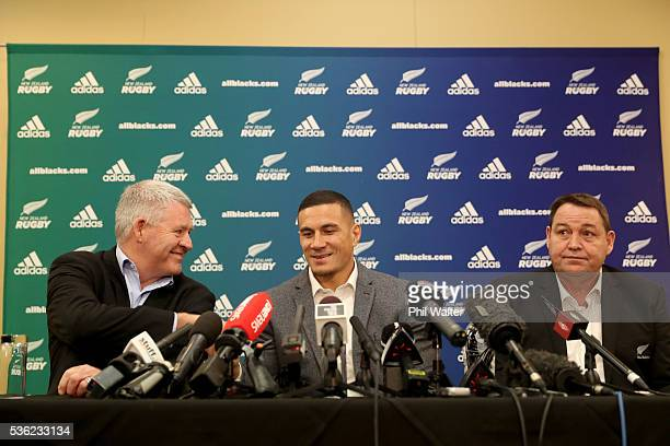 NZRU CEO Steve Tew Sonny Bill Williams and All Black coach Steve Hansen during a press conference at the Heritage Hotel on June 1 2016 in Auckland...