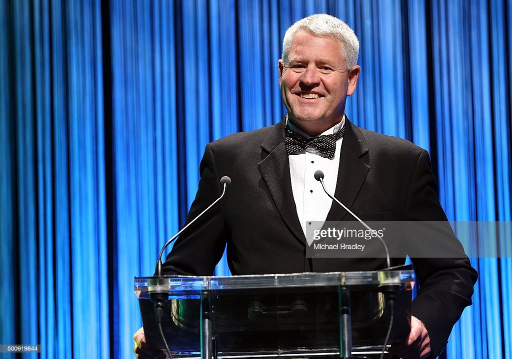 Steve Tew speaks during the 2015 Steinlager Rugby Awards on December 11, 2015 in Auckland, New Zealand.