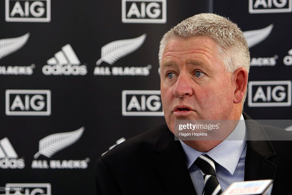 Steve Tew speaks to media during a New Zealand All Blacks press conference at New Zealand Rugby House on April 10, 2013 in Wellington, New Zealand.