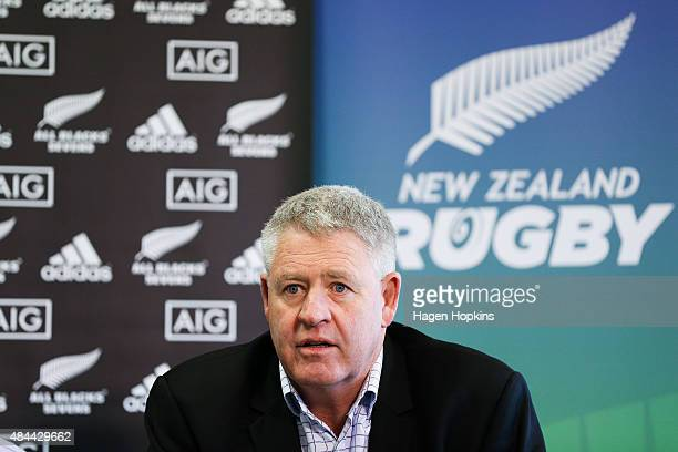 Steve Tew speaks to media during the All Blacks Sevens 2015/16 squad announcement at Westpac Stadium on August 19 2015 in Wellington New Zealand