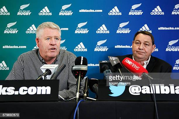 Steve Tew speaks to media while All Blacks coach Steve Hansen looks on during a New Zealand Rugby press conference at NZ Rugby House on July 25 2016...