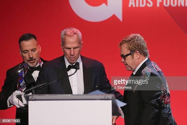 Steve Tisch speaks at the 15th Annual Elton John AIDS Foundation An Enduring Vision Benefit at Cipriani Wall Street on November 2 2016 in New York...