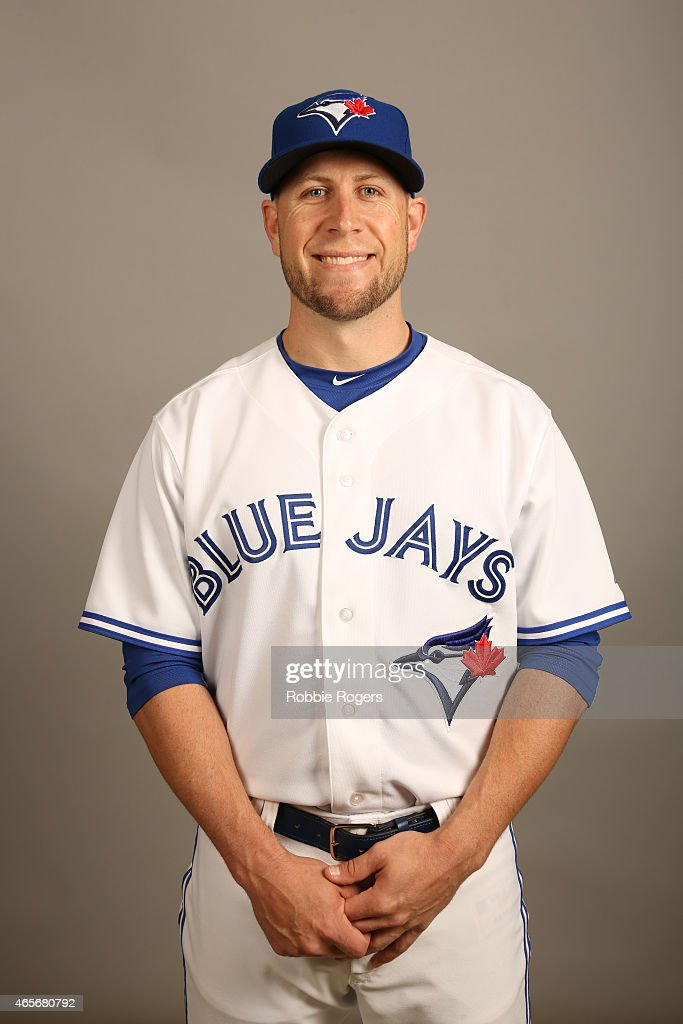 Steve Tolleson #18 of the Toronto Blue Jays poses during Photo Day on Saturday, February 28, 2015 at Florida Auto Exchange Stadium in Dunedin, Florida.