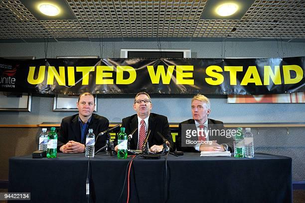 Steve Turner Unite union official left listens as Len McCluskey assitant general secretary of Unite center speaks as Brian Boyd Unite union official...