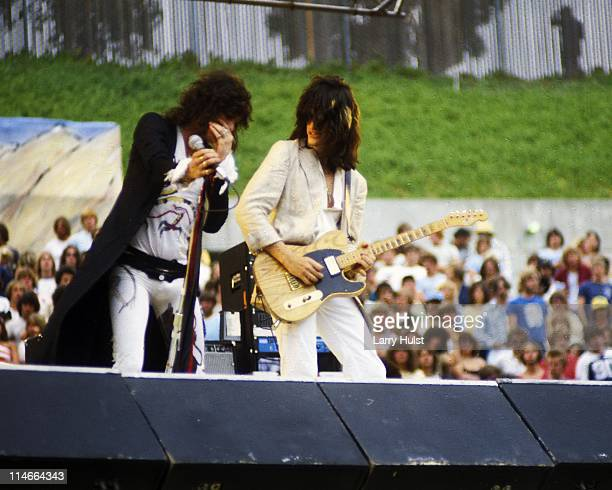 Steve Tyler and Joe Perry performing with 'Aerosmith' at the Oakland Coliseum in Oakland California on July 21 1979