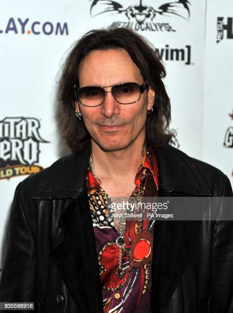 Steve Vai arrives at the Indigo concert venue for the Metal Hammer Golden Gods awards at the O2 Arena in Greenwich south East London