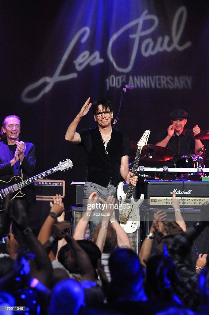 Steve Vai performs onstage during Les Paul's 100th Anniversary Celebration at the Hard Rock Cafe - Times Square on June 9, 2015 in New York City.