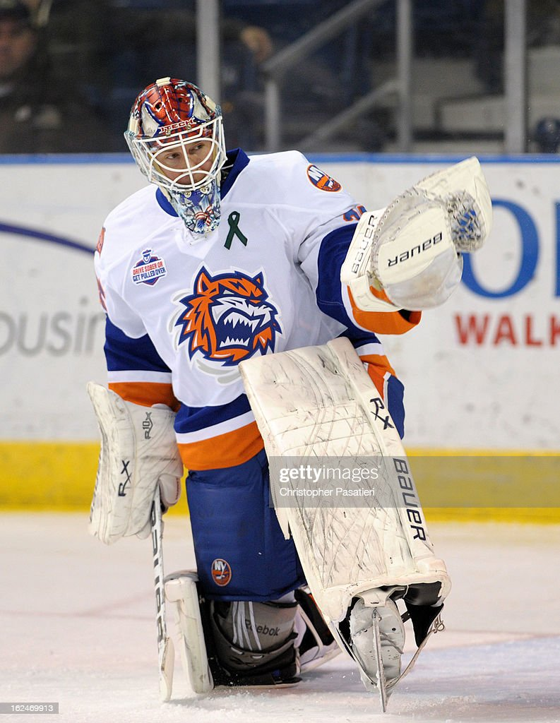 Steve Valiquette #35 of the Bridgeport Sound Tigers tends goal prior to an American Hockey League game against the Manchester Monarchs on February 23, 2013 at the Webster Bank Arena at Harbor Yard in Bridgeport, Connecticut.