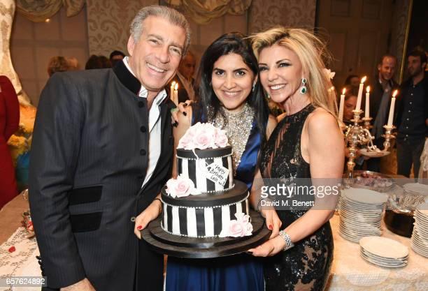 Steve Varsano Leila Maleki and Lisa Tchenguiz attend Lisa Tchenguiz's party hosted by Fatima Maleki in Mayfair on March 24 2017 in London England