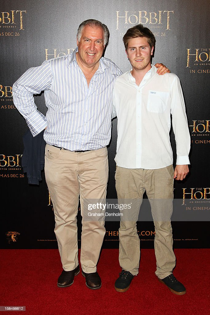 Steve Vizard (L) and son Tom attend the Melbourne premiere of 'The Hobbit: An Unexpected Journey' at Village Cinemas on December 18, 2012 in Melbourne, Australia.