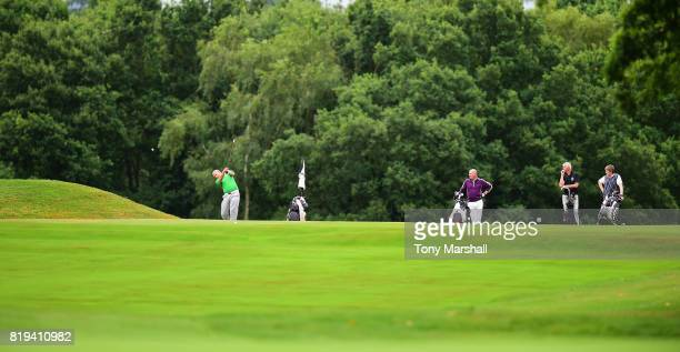 Steve Vyse of Arkley Golf Club plays his second shot on the 17th fairway during the PGA Lombard Trophy East Qualifier at Sandy Lodge Golf Club on...