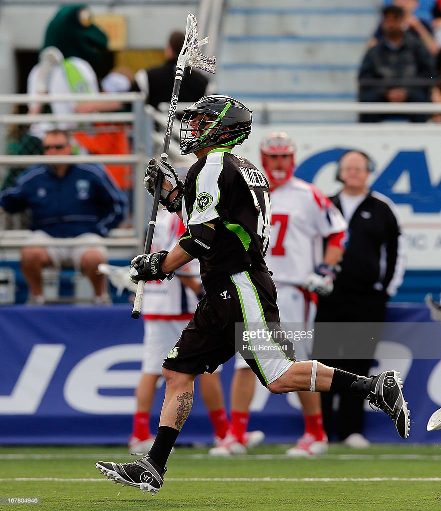 Steve Waldeck #24 of the New York Lizards shown during a Major League Lacrosse game against the Boston Cannons at James M. Shuart Stadium on April 28, 2013 in Hempstead, New York.