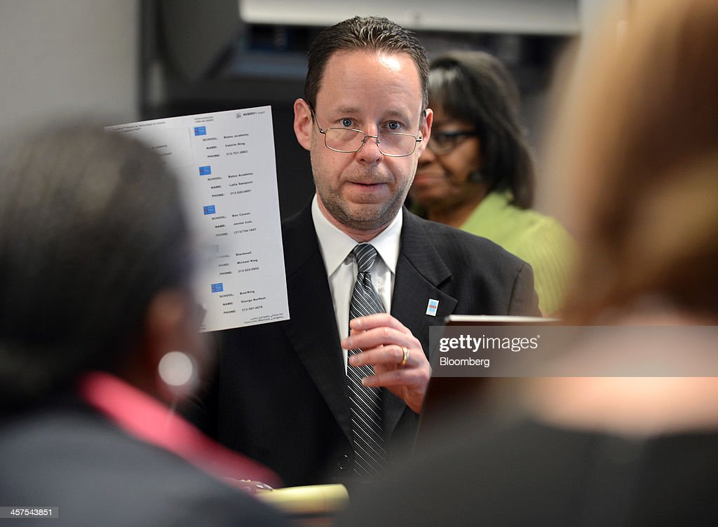 Steve Waska, assistant superintendent for community relations at Detroit Public Schools (DPS), speaks during a strategy meeting in the 'war room' at DPS offices in Detroit, Michigan, U.S., on Wednesday, Dec. 11, 2013. An all-out battle to attract Detroits dwindling pool of students is engulfing the citys competing schools even as plans for a civic renaissance count on them to retain residents and stabilize neighborhoods. Photographer: Bryan Mitchell/Bloomberg via Getty Images