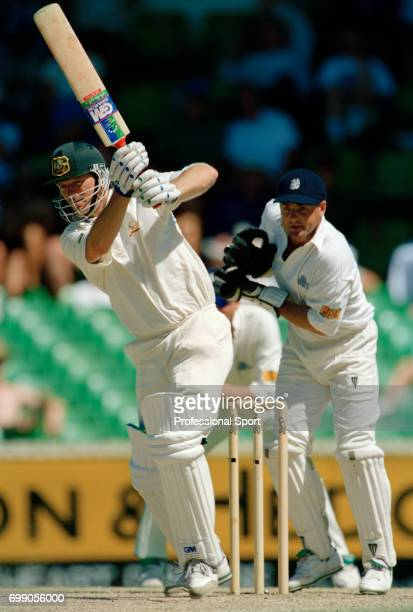 Steve Waugh batting for Australia during the 5th Test match between Australia and England at the WACA Perth Australia 3rd February 1995 Waugh scored...