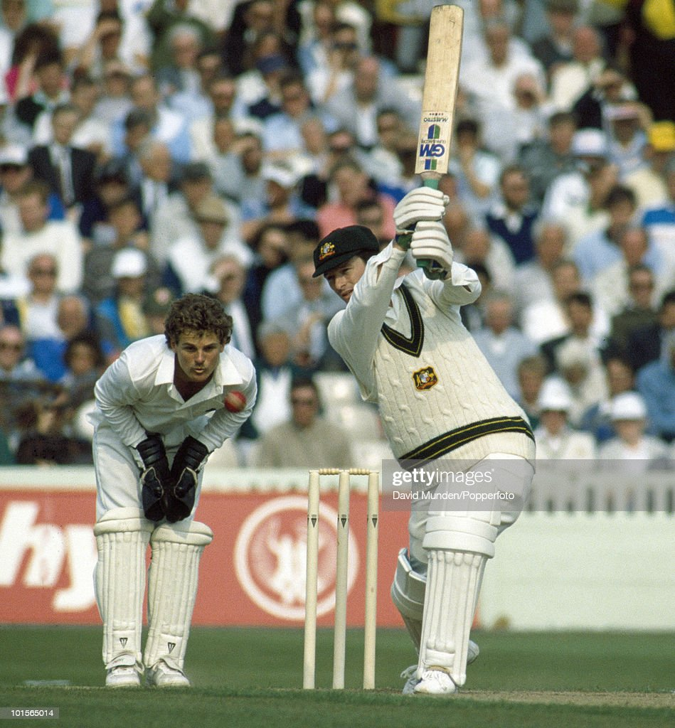 Steve Waugh batting for Australia during the Texaco Trophy One Day International match between England and Australia at Old Trafford in Manchester, 25th May 1989. The England wicketkeeper is Steve Rhodes. England won by 95 runs. (Photo by David Munden/Popperfoto/Getty Images