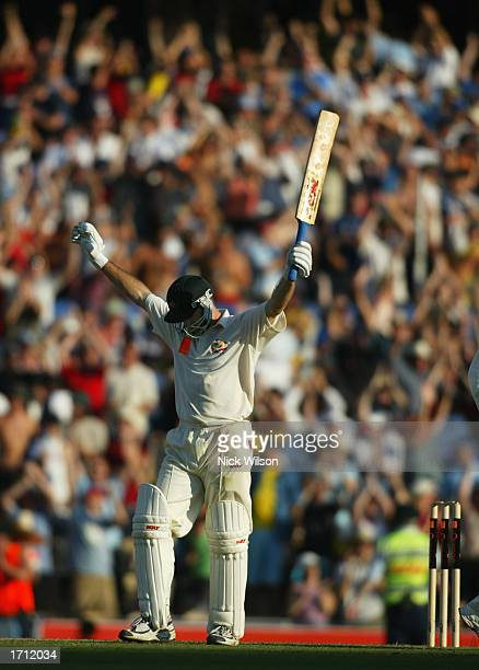 Steve Waugh of Australia celebrates reaching his century during the second day of the fifth Ashes Test between Australia and England held at the...