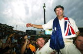 Steve Waugh of Australia does a lap of honour after retiring from Test Cricket after day five of the 4th Test between Australia and India at the SCG...