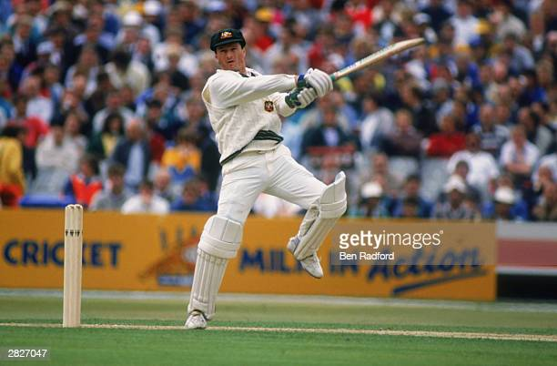 Steve Waugh of Australia hits out on his way to 177 not out during The Ashes First Test match between England and Australia held on June 9 1989 at...