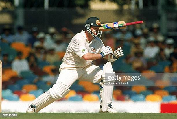 Steve Waugh of Australia loses grip of his bat during the 1st test match between Australia and Pakistan held at the GABBA 1995 in Brisbane Australia