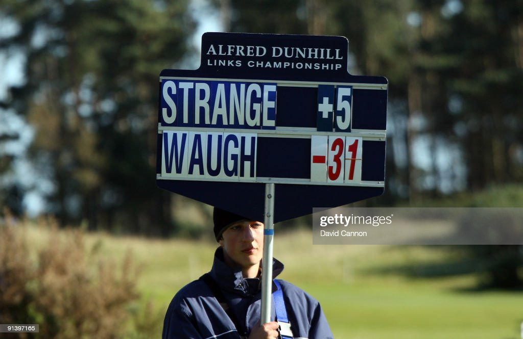 Steve Waugh of Australia outshines his playing partner professional Scott Strange of Australia as the roving scoreboard shows at the 9th hole during the third round of the Alfred Dunhill Links Championship at Carnoustie, on October 4, 2009 in Carnoustie, Scotland. The third round was postponed on saturday due to gale force winds.