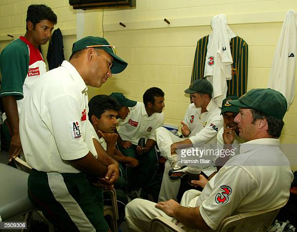 Steve Waugh of Australia speaks to several of the Bangladesh players in the change rooms after day four of the Second Test between Australia and...