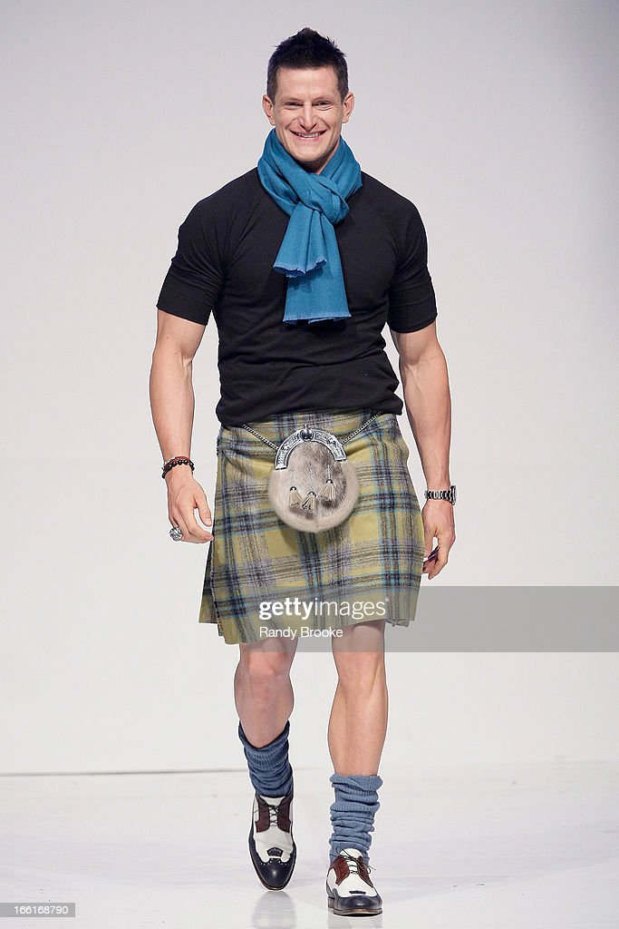 <a gi-track='captionPersonalityLinkClicked' href=/galleries/search?phrase=Steve+Weatherford&family=editorial&specificpeople=980653 ng-click='$event.stopPropagation()'>Steve Weatherford</a> walks the runway during the 2013 From Scotland With Love Charity Fashion Show at Stage 48 on April 8, 2013 in New York City.
