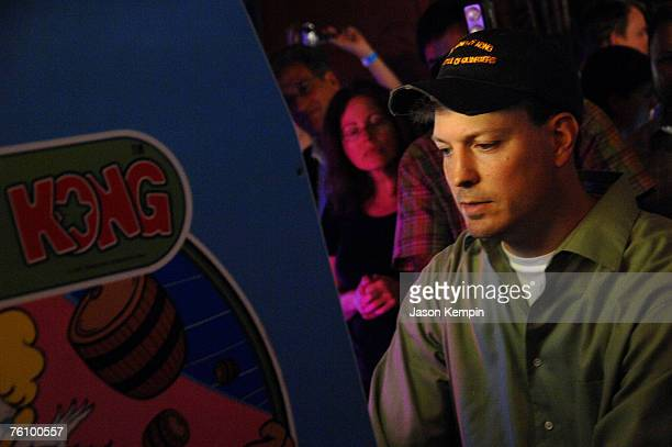 Steve Weibe attempts to break the world record for 'Donkey Kong' at Dave And Busters Times Square on August 14 2007 in New York City