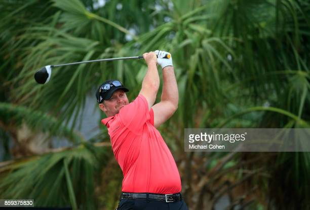 Steve Wheatcroft hits a drive during the third round of the Webcom Tour Championship held at Atlantic Beach Country Club on September 30 2017 in...