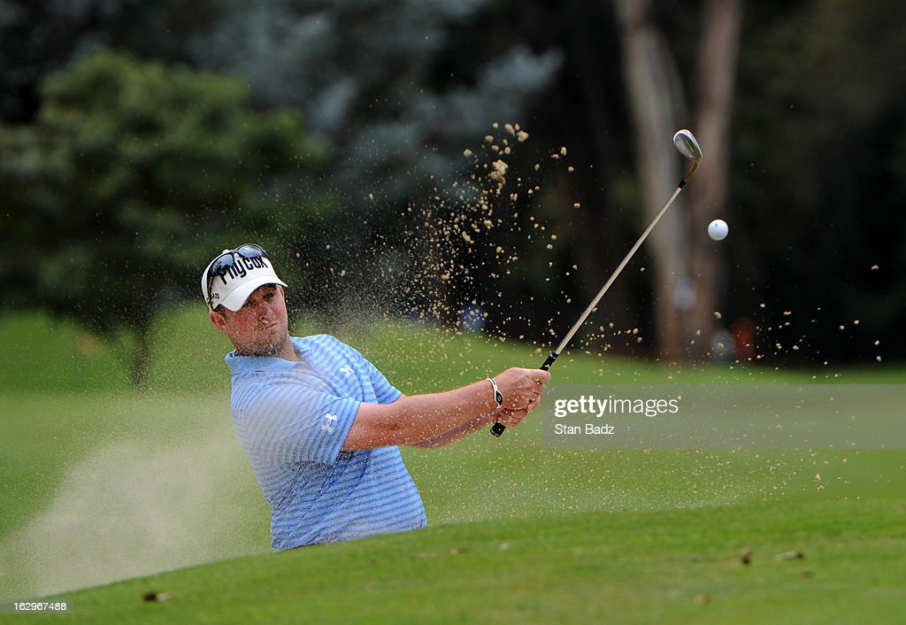 Steve Wheatcroft hits from a bunker on the seventh hole during the third round of the Colombia Championship at Country Club de Bogota on March 2, 2013 in Bogota, Colombia.